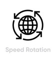 speed rotation globe icon editable stroke vector image