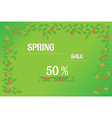 spring sale background with leaves vector image vector image