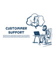 support center headset agent man client bubble vector image
