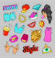 swag fashion elements with hands lips vector image vector image