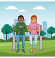 teens with smartphones cartoons vector image vector image