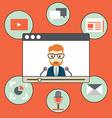 Webinar - kind of web conferencing holding online vector image
