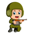 young boy dressed like a soldier with rifle vector image