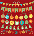 cute bunting and garland decoration set vector image