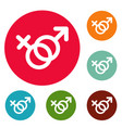 female and man gender symbol icons circle set vector image