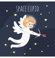 funny little Valentine day cupid angel in space vector image