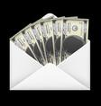 100 dollar banknotes money inside white envelope vector image