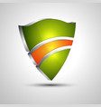 3d logo protection shield divided into colored vector image vector image