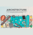 architecture top view banner in line art style vector image vector image