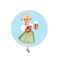 Attractive woman in dirndl with beers vector image vector image