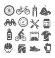 biking icons set on white background vector image vector image