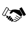 black and white handshake or hand shake icon vector image