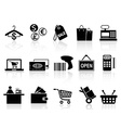 black retail and shopping icons set vector image