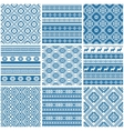 blue and white ornamental ethnic seamless patterns vector image vector image