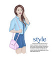 brunnete girl model wearing cute dress jeans vector image