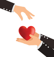 Business Hand Giving Heart Love Concept vector image vector image