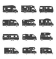 camping trucks black glyph icons set vector image