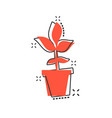 cartoon flower pot icon in comic style seedling vector image