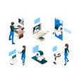 chatbot isometric people conversation with smart vector image vector image