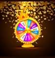 colorful fortune wheel wins jackpot piles of vector image vector image