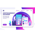 cryptocurrency exchange landing page online vector image vector image