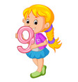 cute child holding balloon with number nine vector image vector image
