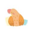 cute hen bird sleeping on pillows vector image vector image