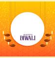 elegant diwali card design with hanging diya vector image vector image