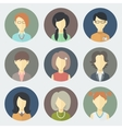 Female Faces Icons Set vector image vector image