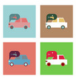 flat icon design collection car and sound signal vector image vector image
