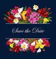 flowers for save the date wedding card vector image