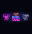 girl boss neon text design template girl vector image
