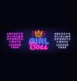 girl boss neon text design template vector image