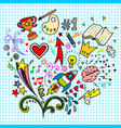 hand drawn creative doodle art sets on a paper vector image vector image