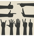 hand gestures icons set vector image vector image
