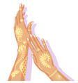 Hands with temporary golden tattoo vector image