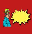 happy businessman greeting raises his hat vector image vector image