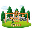 happy kids playing in park vector image vector image