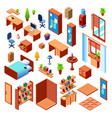 isometric domestic furniture set vector image vector image