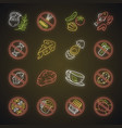 keto diet neon light icons set low carbs vector image
