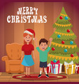 kids in chrismtas cartoon vector image
