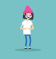 laughing out loud brunette girl flat editable vector image vector image