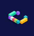 letter c isometric colorful cubes 3d design vector image vector image