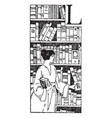 library bookshelves vintage engraving vector image vector image