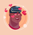 man happy smiling african american male emoji vector image