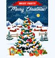 night party in christmas eve poster with xmas tree vector image vector image