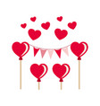party garland with hearts balloons isolated icon vector image