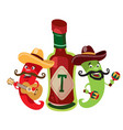 peppers and the hot mexican sauce vector image vector image