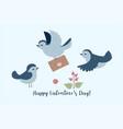 postcard with small birds inscription happy vector image