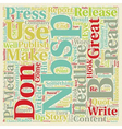 Press Release Primer text background wordcloud vector image vector image
